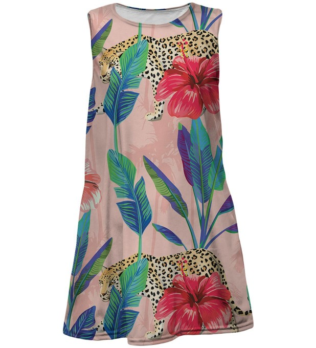 Floral Cheetah summer dress for kids Miniatura 1