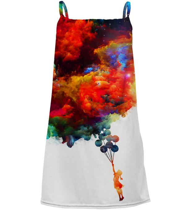 With balloons to galaxy sleeveless dress for kids Miniatura 1