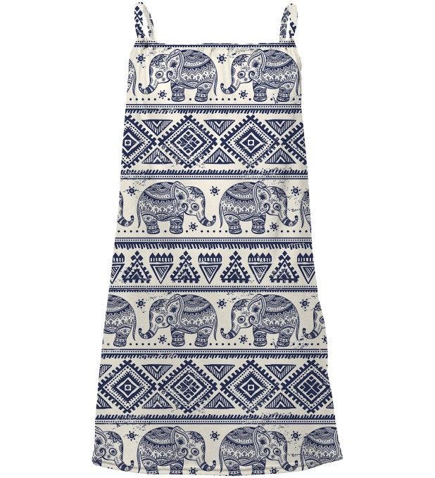 Elephants Pattern sleeveless dress for kids Thumbnail 1
