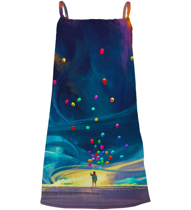 Colorful Balloons sleeveless dress for kids Thumbnail 1