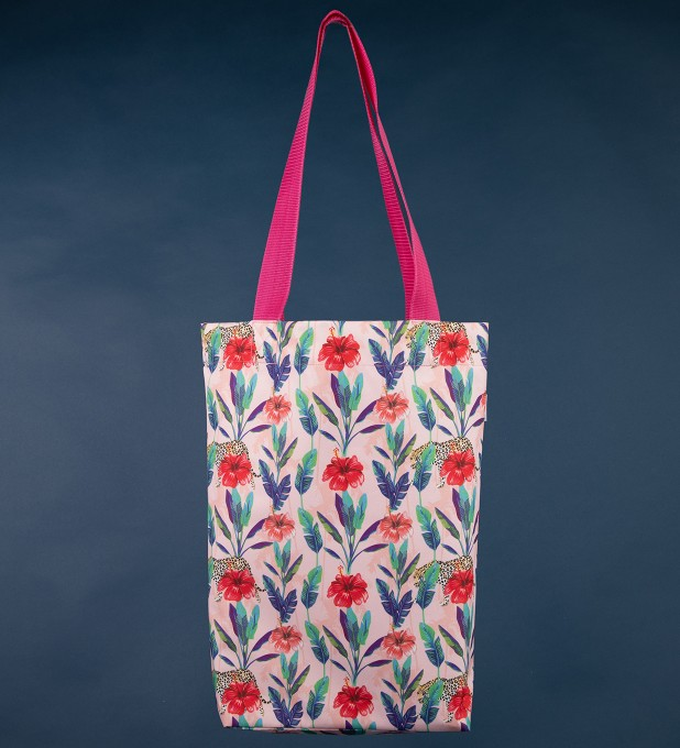 Floral Cheetah beach bag Thumbnail 1