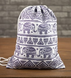 Mr. Gugu & Miss Go, Elephants Pattern drawstring bag Thumbnail $i