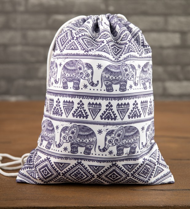 Elephants Pattern drawstring bag Thumbnail 1