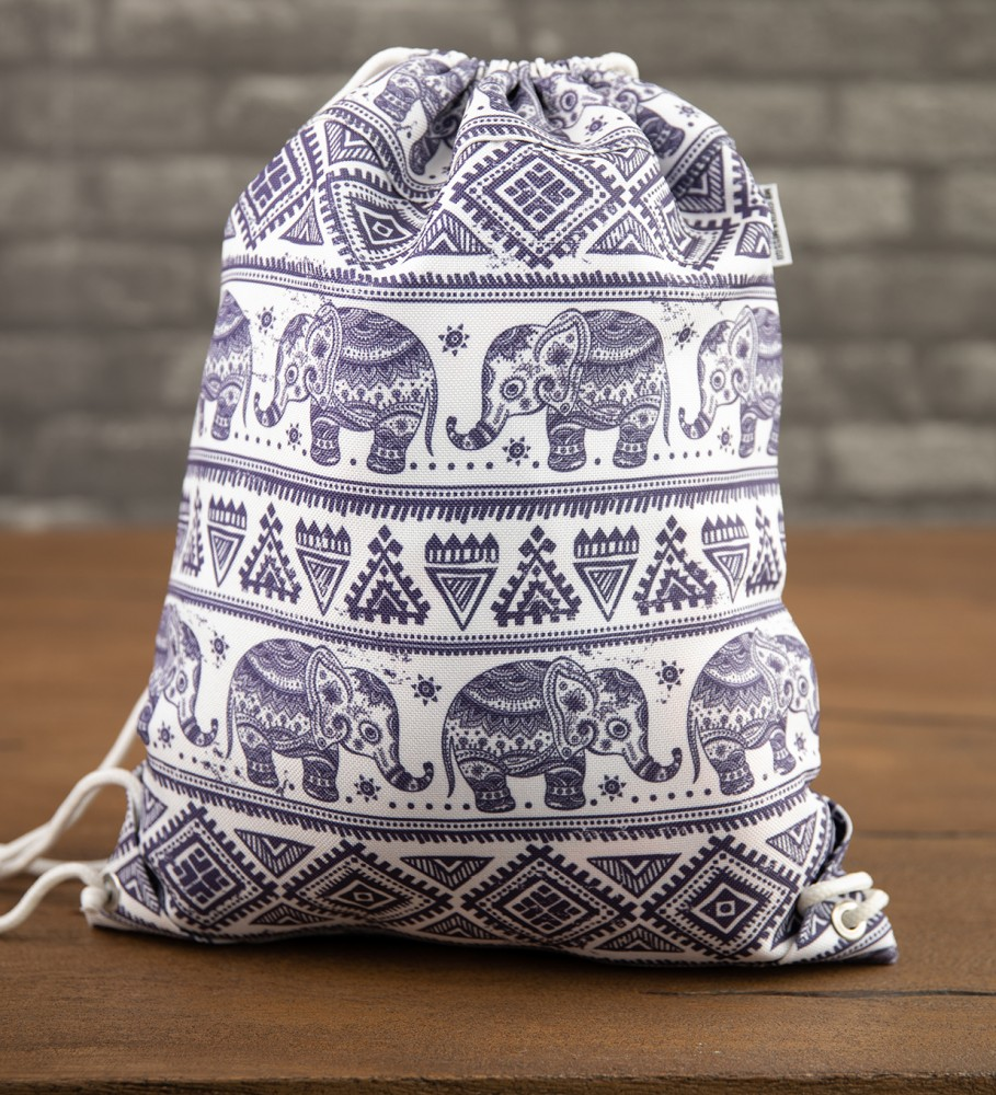 Mr. Gugu & Miss Go, Elephants Pattern drawstring bag Image $i