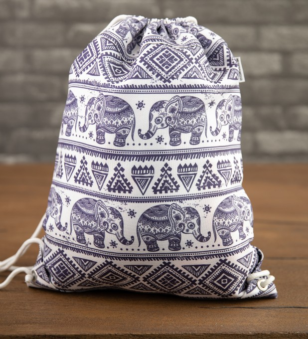 Elephants Pattern drawstring bag Thumbnail 2