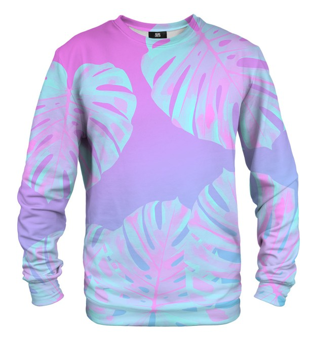 Monstera Leaves Pink sweater Thumbnail 1