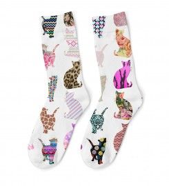 Mr. Gugu & Miss Go, Comic Cat Pattern midi socks Miniatura $i