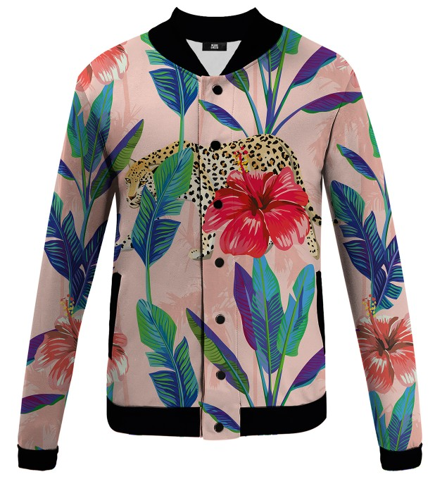 Floral Cheetah baseball jacket Thumbnail 1