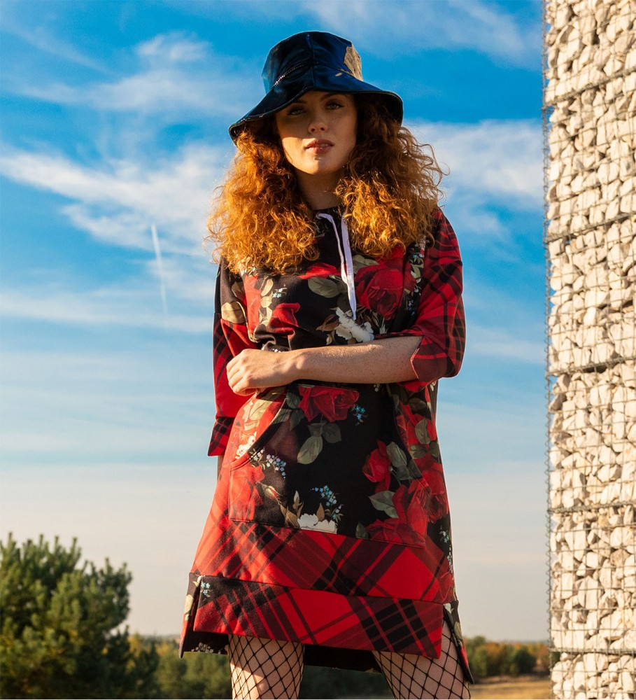 Mr. Gugu & Miss Go, Plaid roses hoodie dress Image $i