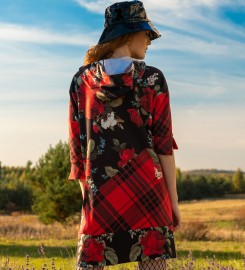 Mr. Gugu & Miss Go, Plaid roses hoodie dress Thumbnail $i