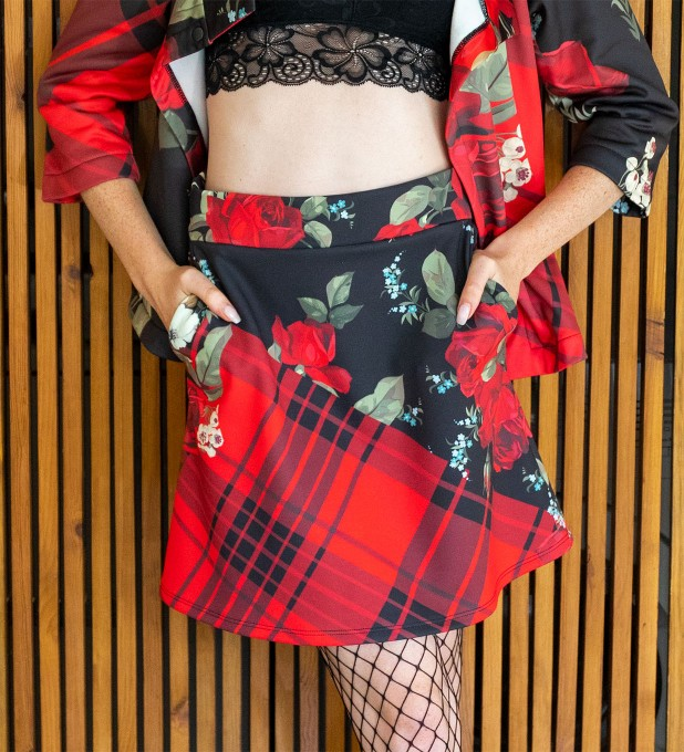 Plaid roses short skirt Thumbnail 1