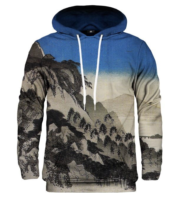 Full moon over a mountain landscape hoodie Miniature 1