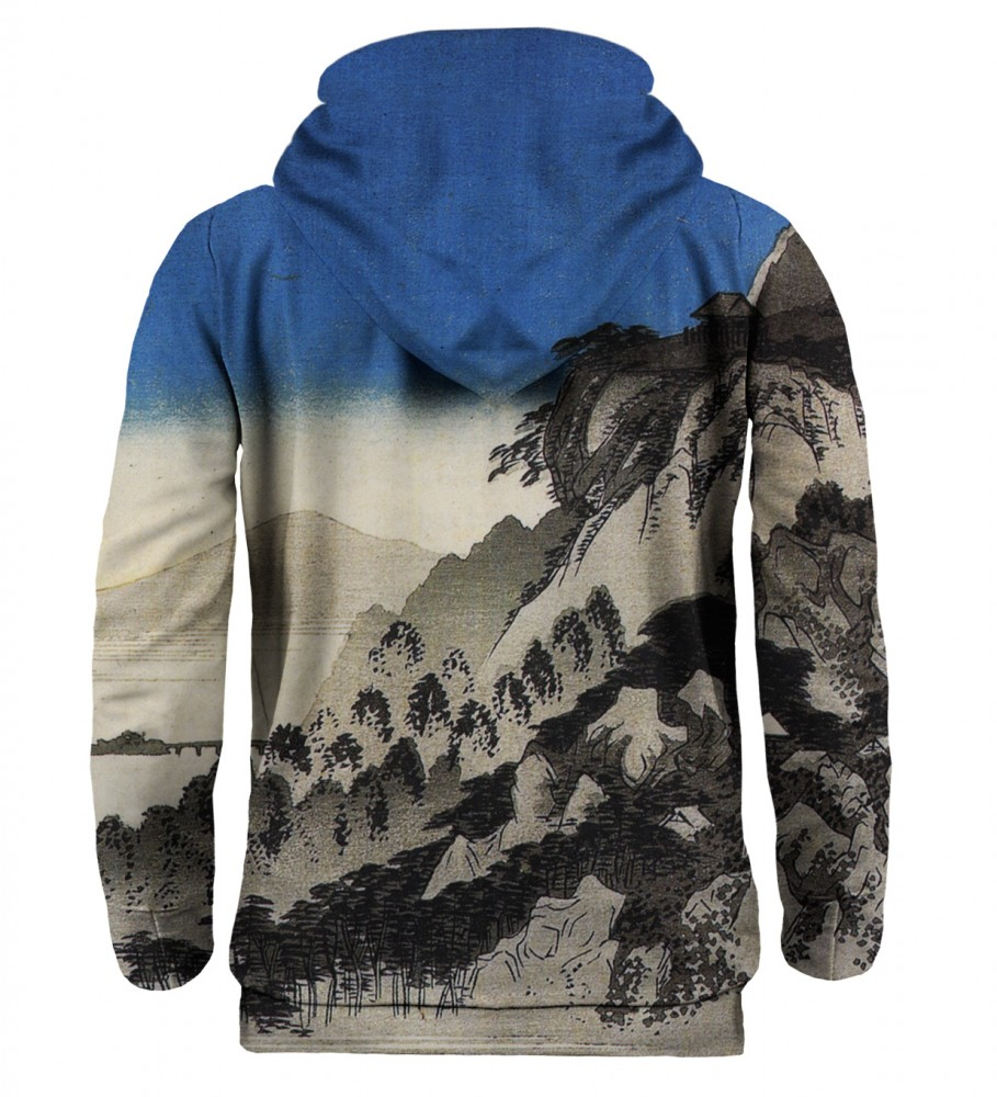 Mr. Gugu & Miss Go, Full moon over a mountain landscape hoodie Imagen $i