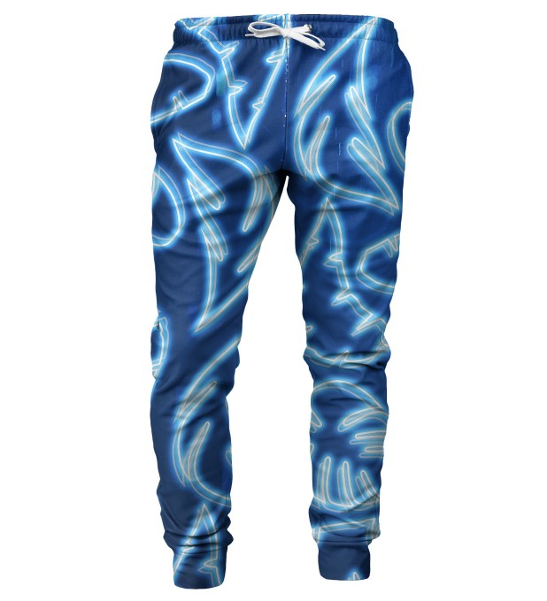 Neon Blue mens sweatpants Miniature 1