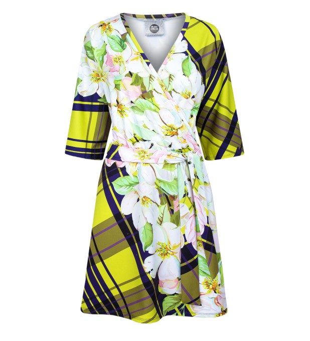 Yellow check envelope dress Thumbnail 1