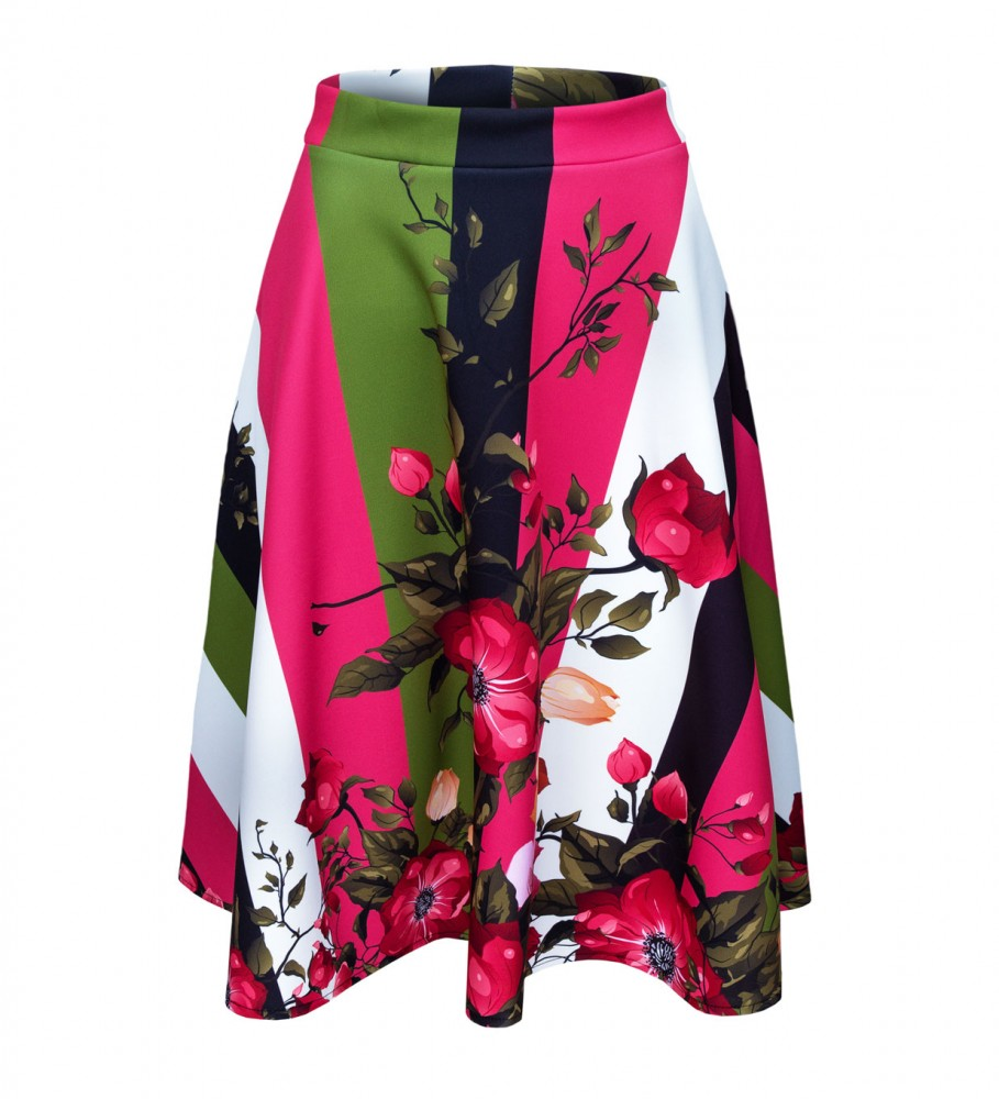 Mr. Gugu & Miss Go, Green-pink wallpaper flared skirt Image $i