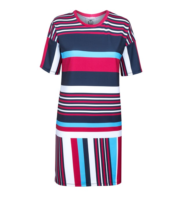 Stripes here stripes there short sleeve dress Miniature 1