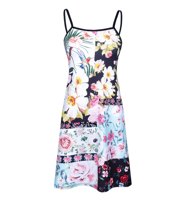 Floral collage strap dress Thumbnail 1
