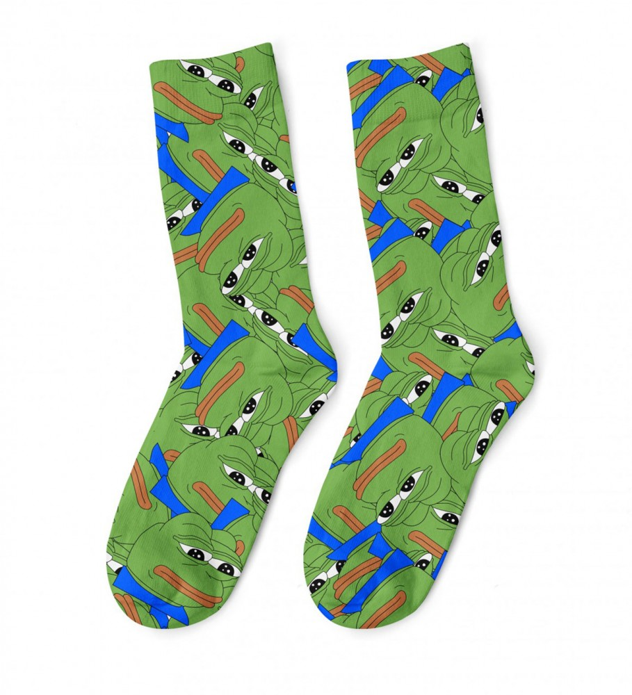 Mr. Gugu & Miss Go, Pepe the frog Pattern midi socks Image $i