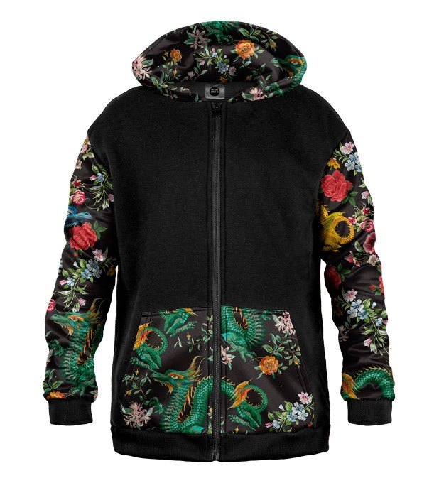 Asian Dragon Cotton Zip Up Hoodie Thumbnail 1