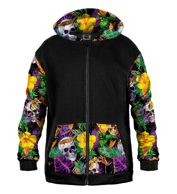 Skulls in Flowers Cotton Zip Up Hoodie Miniatura 1