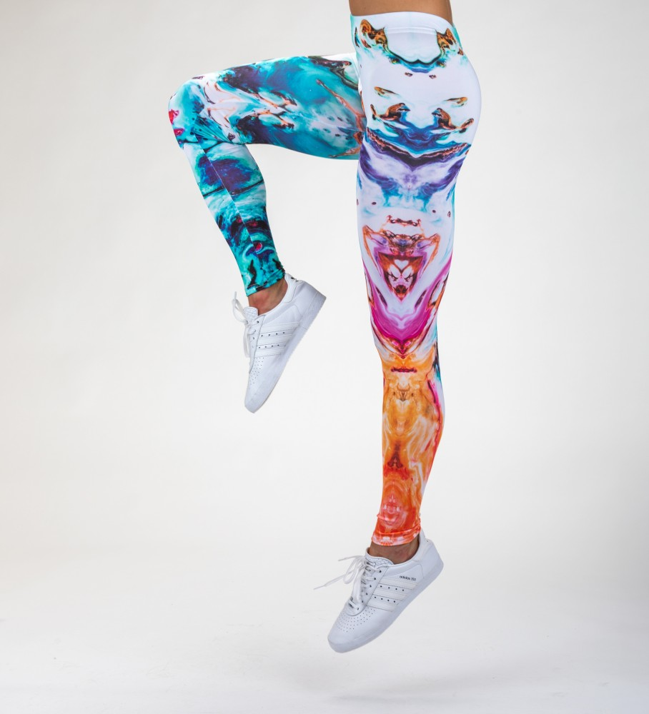 Mr. Gugu & Miss Go, Abstract Painting Leggings Image $i