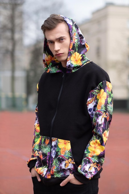 Skulls in Flowers Cotton Zip Up Hoodie Miniatura 2