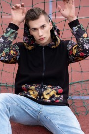 Mr. Gugu & Miss Go, Skulls in Flowers Cotton Zip Up Hoodie аватар $i