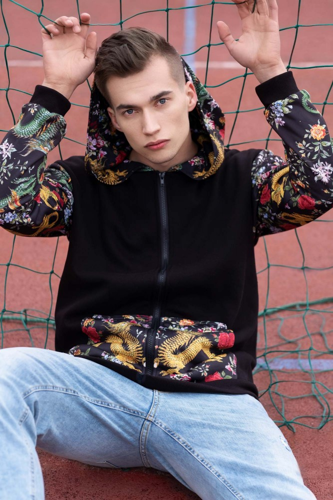 Mr. Gugu & Miss Go, Asian Dragon Cotton Zip Up Hoodie Image $i