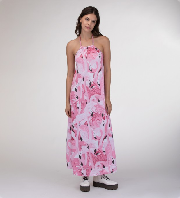 Flamingo Flock Halter dress Miniatura 1