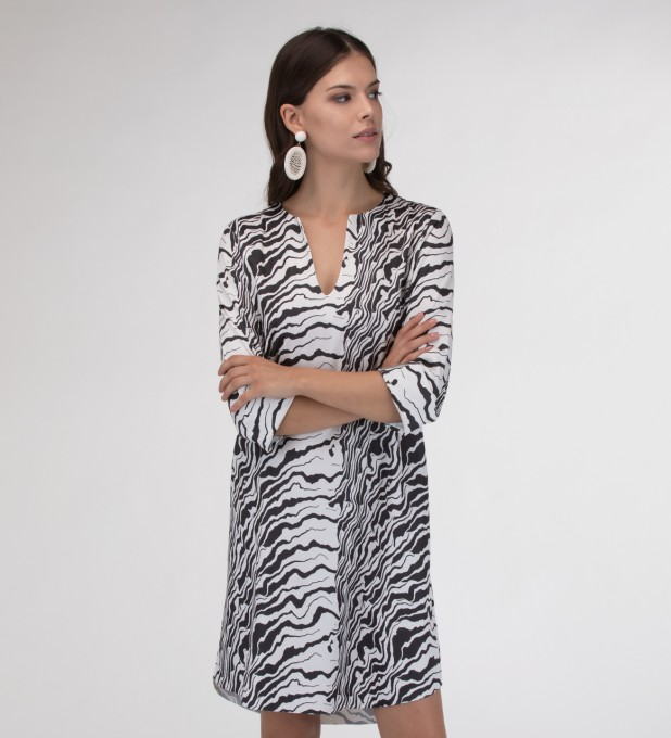 Black and white waves Shirt dress Miniatura 1