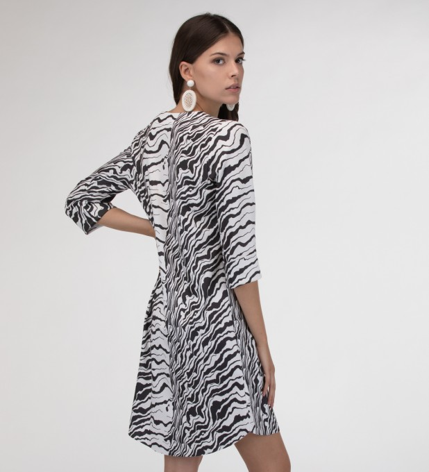 Black and white waves Shirt dress Miniatura 2