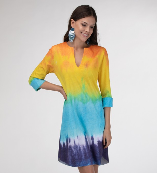 Splashy Tie Dye Shirt dress Miniatura 1