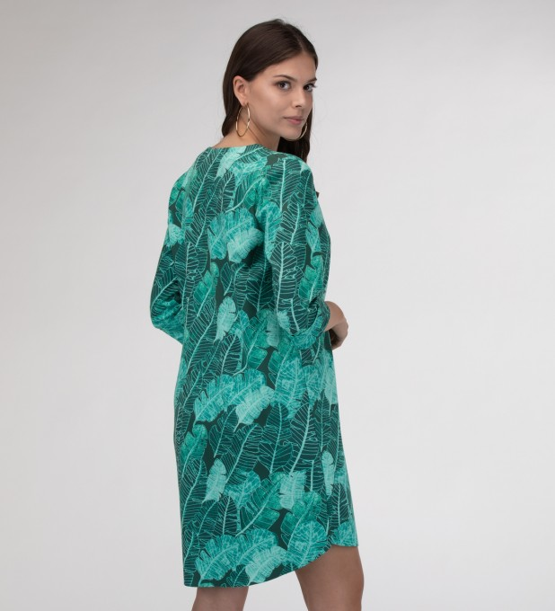 Tropical Leaves Shirt dress Miniatura 1