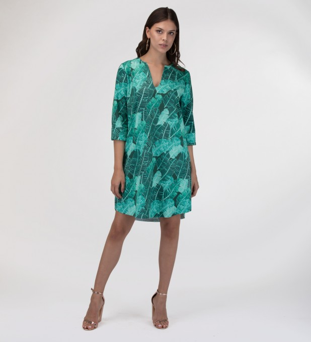 Tropical Leaves Shirt dress Miniatura 2