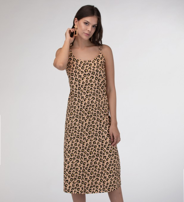 Beige spots Strap dress long Miniatura 1