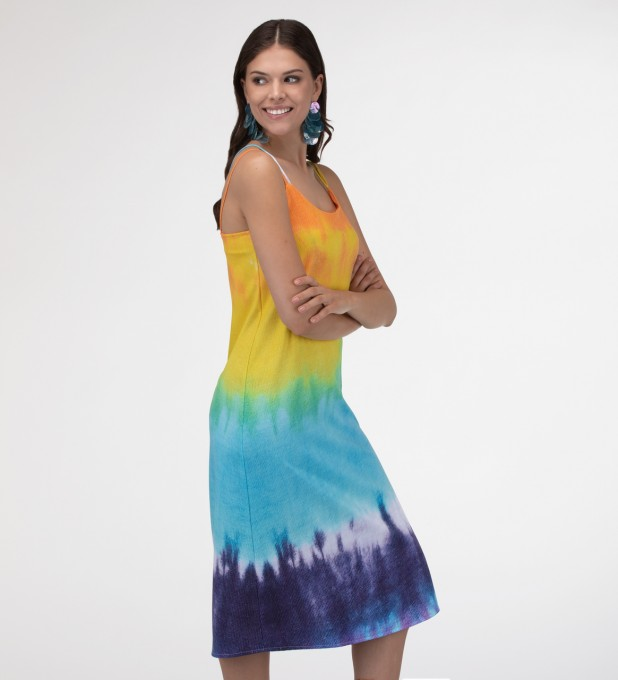 Splashy Tie Dye Strap dress long Miniatura 1