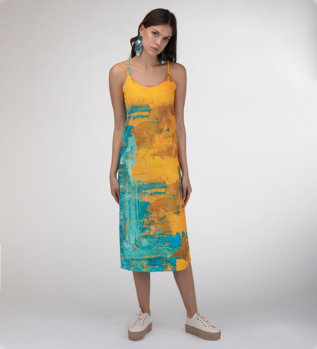Two colors painting Strap dress long Miniatura 1