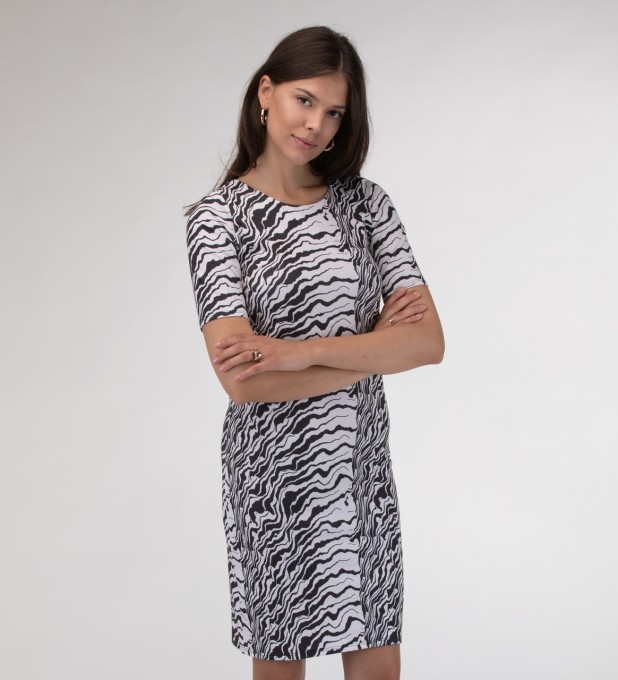 Black and white waves Slim dress Miniatura 1