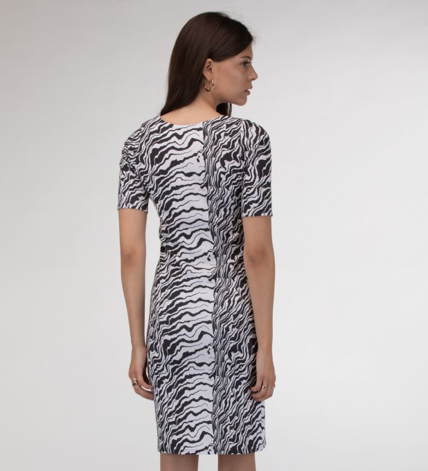 Black and white waves Slim dress Miniatura 2