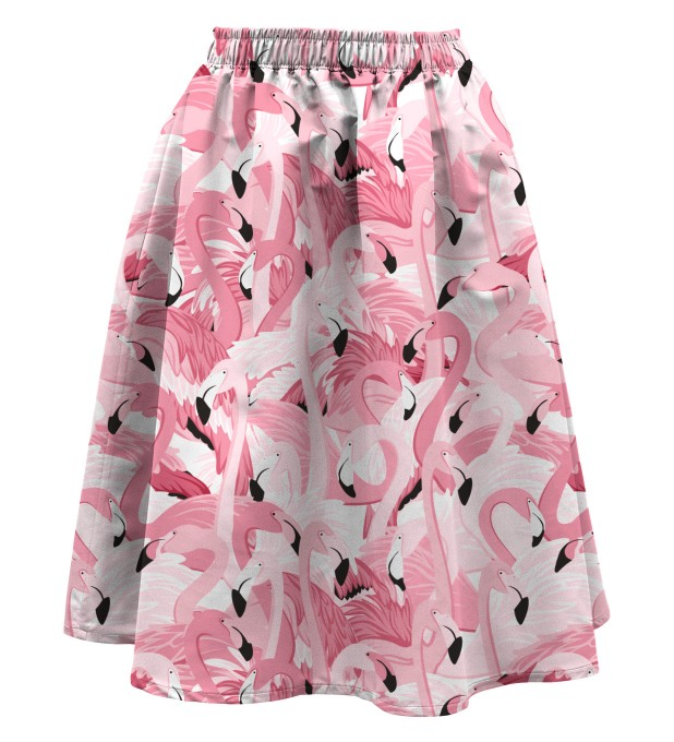 Flamingo flock Summer flared skirt Miniature 1
