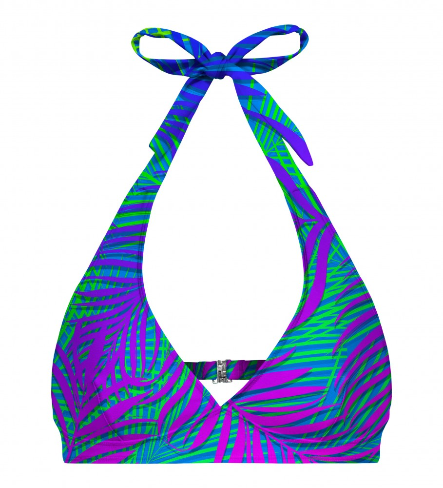 Mr. Gugu & Miss Go, Blue palm halter neck bikini top Imagen $i