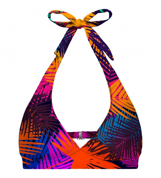Colorful palm halter neck bikini top Miniature 1