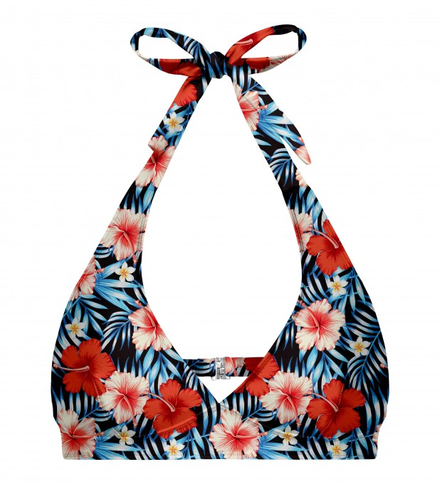 Tropical flowers halter neck bikini top Thumbnail 1