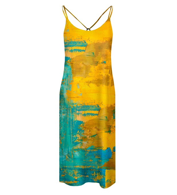 Two colors painting Strap dress long Miniature 1