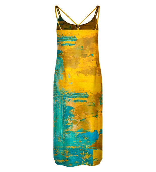 Two colors painting Strap dress long Miniature 2