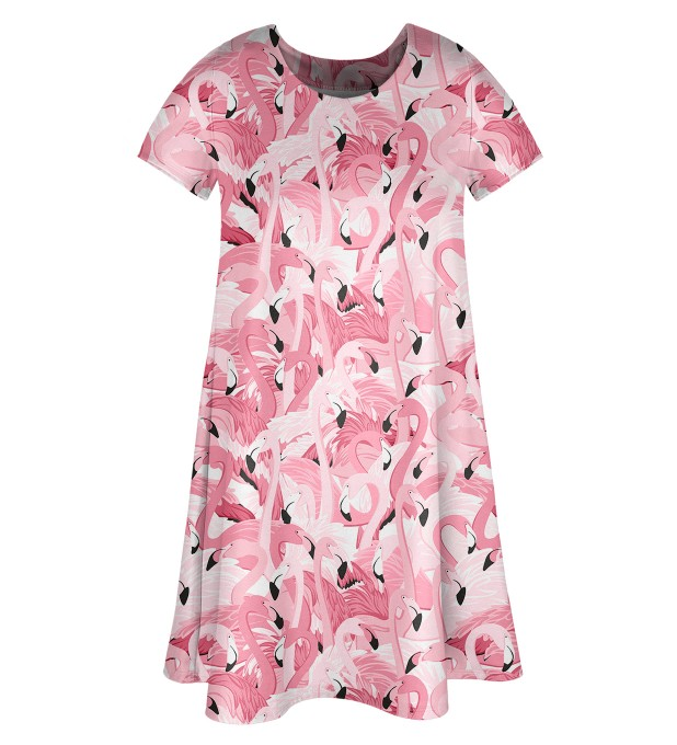 Flamingo flock Skater dress Miniature 1