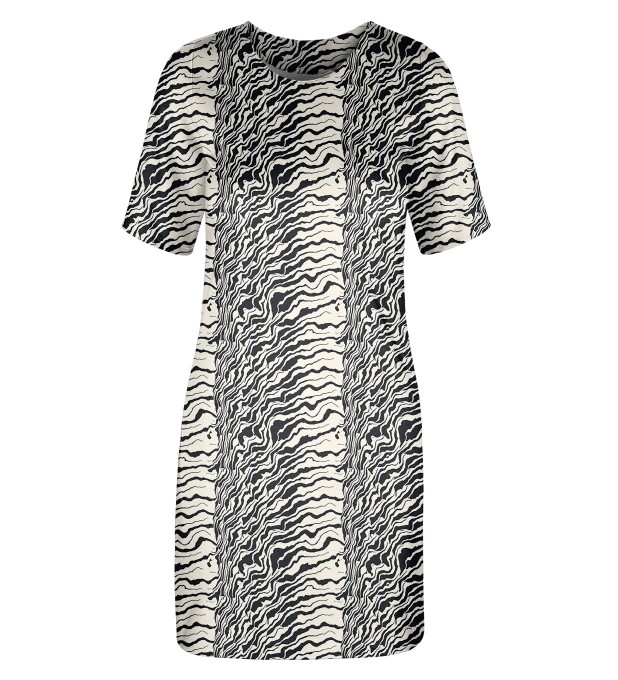 Black and white waves Slim dress Miniature 1
