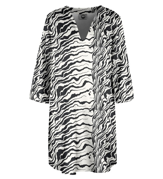 Black and white waves Shirt dress Miniature 1