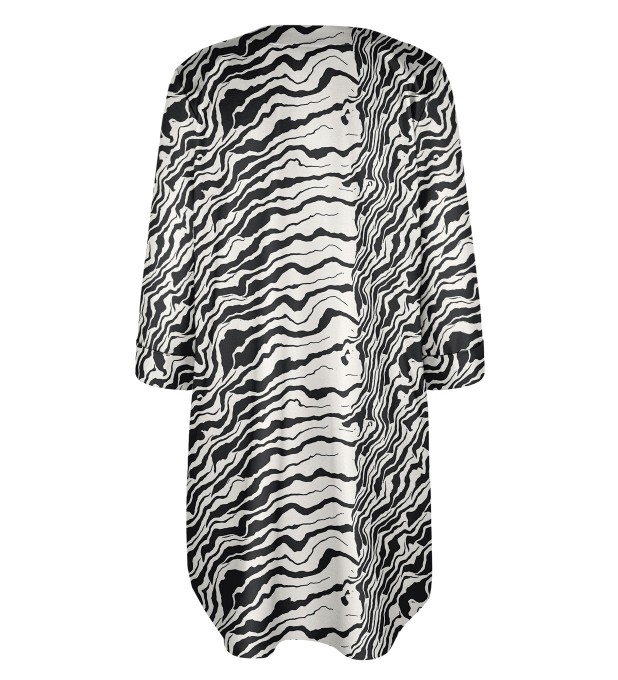 Black and white waves Shirt dress Miniature 2